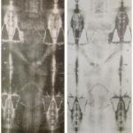 Die erste Fotografie des Grabtuchs von Turin von 1898: Negativ (links) und Positiv (rechts)